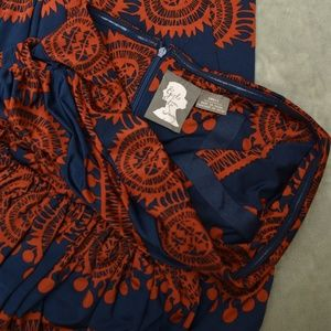 Patterned Strapless Anthropologie Dress - Size S